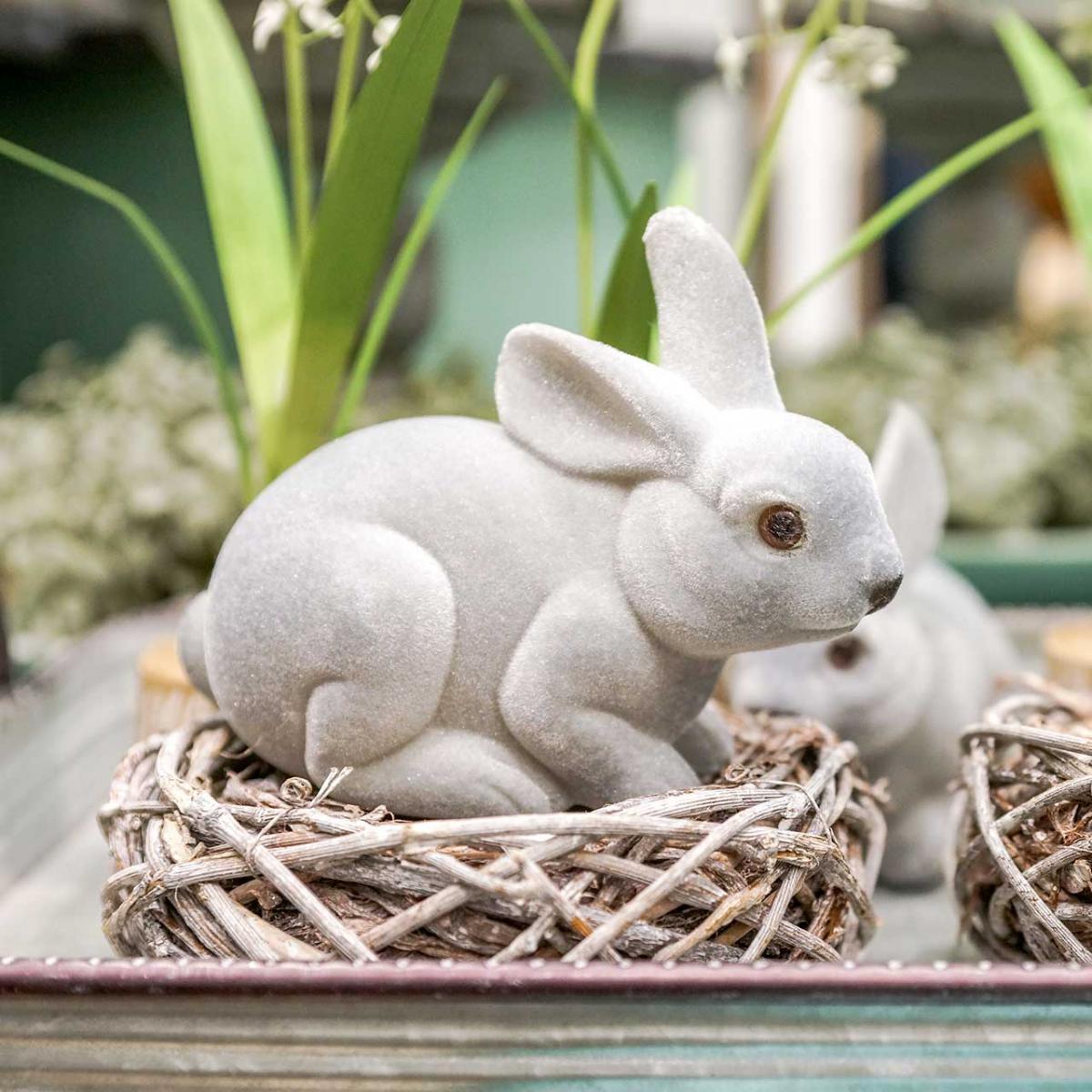 Figura decorativa coniglietto grigio, decorazione primaverile, coniglio pasquale seduto floccato 3pz
