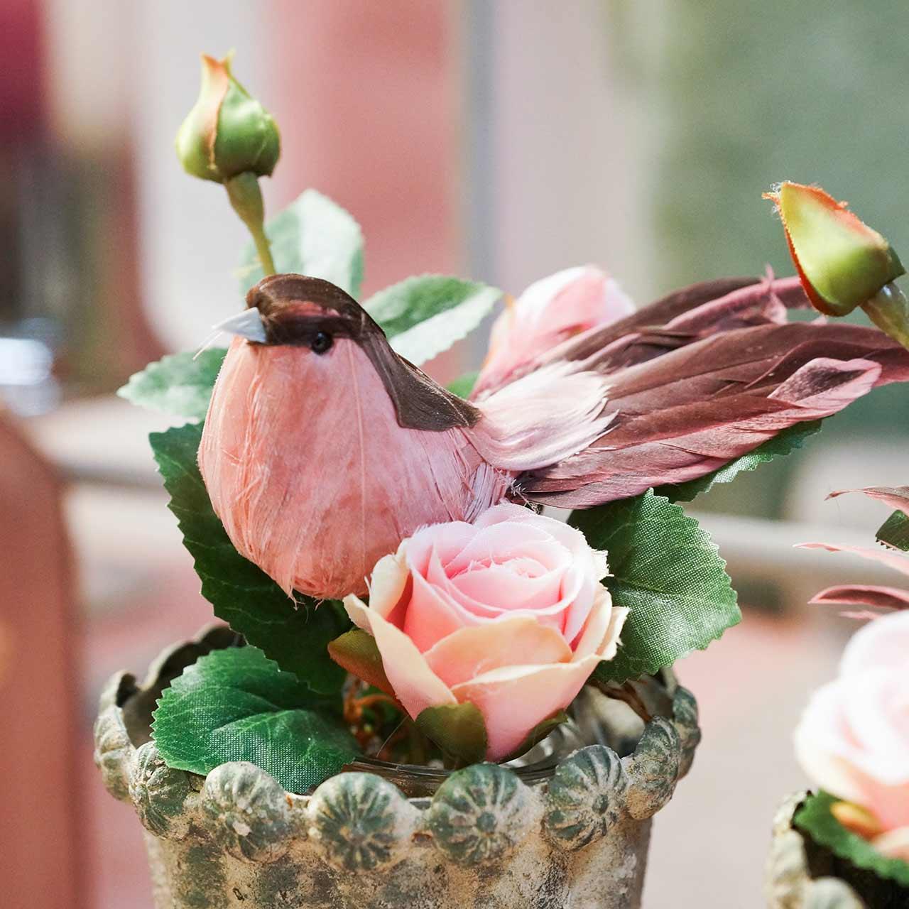 Uccello piuma su filo rosa 12 cm 4 pezzi