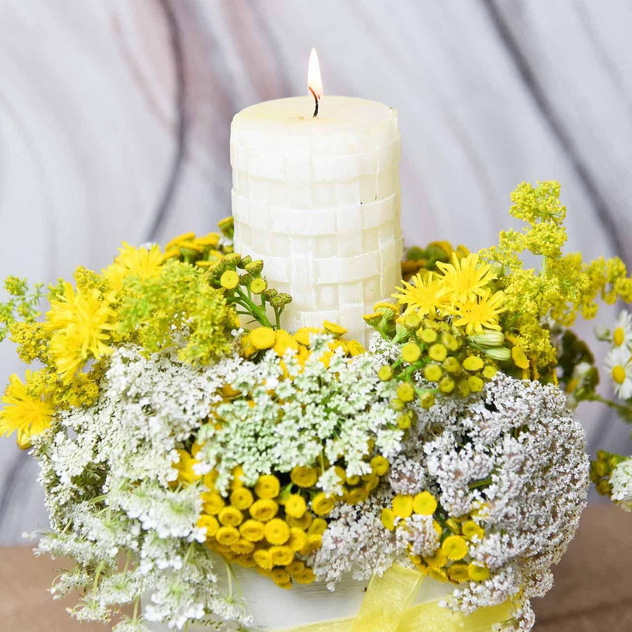 Candele rustiche, candele di cera bianca, modello di cesto di candele a colonna 110/65 2pz