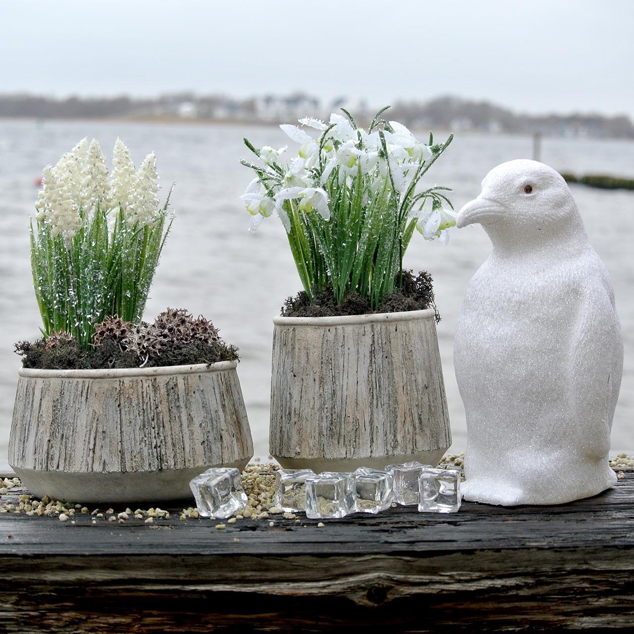 Vaso per fioriera design in legno cemento Ø15cm