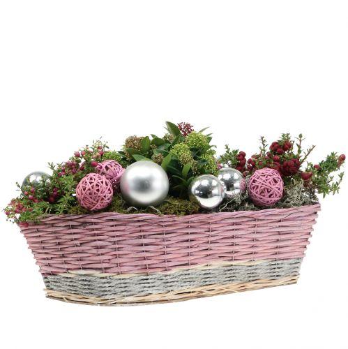 Set di 2 cestini per piante rosa, natura