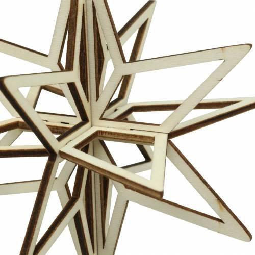 Stella in legno 3D da appendere 13,5 cm 6 pezzi