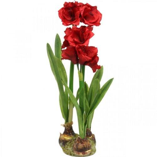 Amaryllis artificiale rosso 3 fiori di seta su palline di muschio H64cm