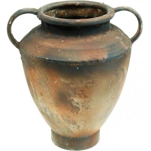 Anfora aspetto antico per piantare vaso in metallo decorazione da giardino H29cm