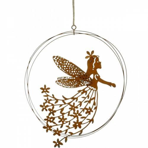 Pendente elfo fiore, decoro primaverile, anello decorativo con fata, patina Ø17cm 3pz