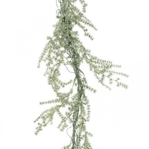 Ghirlanda di asparagi artificiali bianco, grigio appendiabiti 170cm