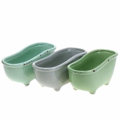Vasca da bagno decorativa in ceramica grigia, verde assortita 22 cm x 10 cm H10 cm set di 3