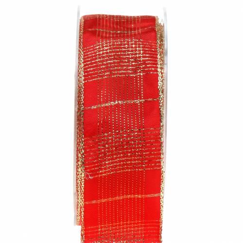 Karoband con bordo filo rosso, oro 40mm L20m