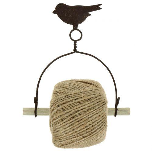 Uccellino porta fascia da appendere con juta H19cm