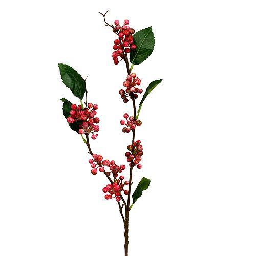 Ramo di bacche artificialmente rosso-bianco 64 cm 6 pezzi