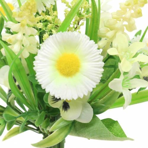 Bouquet di primavera con Bellis e Giacinto bianco artificiale, giallo 25 cm