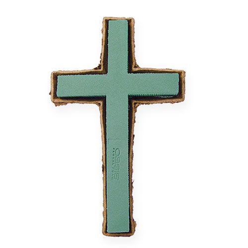 Croce di schiuma floreale grande gioielli tomba verde 53cm 2 pezzi
