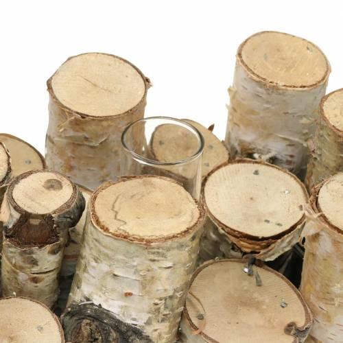 Decorazione con rami di betulla e provette di vetro Naturale 32cm