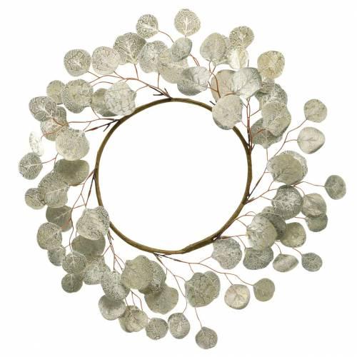 Corona di foglie champagne artificiale foglie rotonde Ø55cm