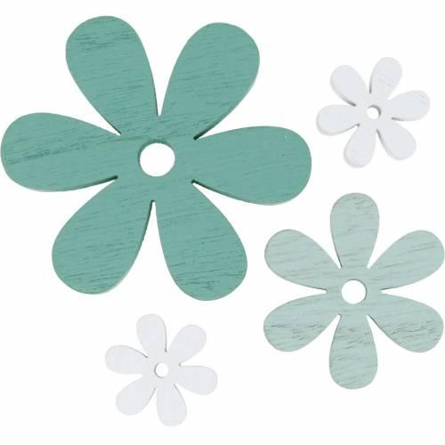 decorazioni da spargere blossom verde, menta, fiori di legno bianchi per spargere 29p