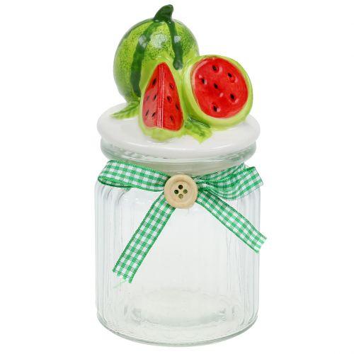 Porta caramelle in vetro con melone H15,5cm con coperchio frutta