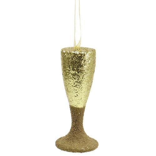 Appendiabiti in vetro champagne oro chiaro glitter 15cm Capodanno e Natale