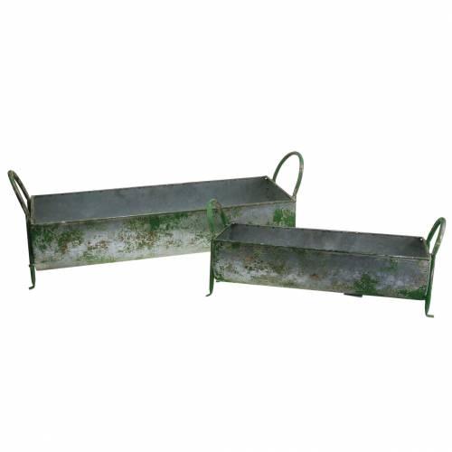 Trogolo decorativo in zinco per piantare con manici grigio, verde 60 / 43cm set di 2