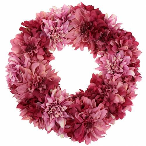 Ghirlanda di fiori di dalia rosa antico, malva Ø42cm