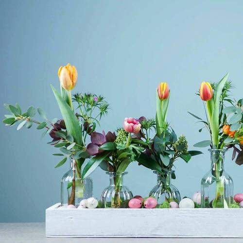 Vaso decorativo per fiori Ø7,5 cm H13,5 cm trasparente 6 pezzi