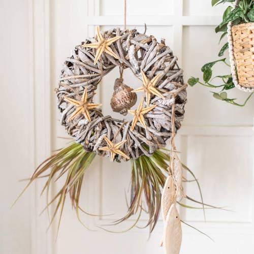 Ghirlanda decorativa in legno di liana lavato bianco Ø30cm