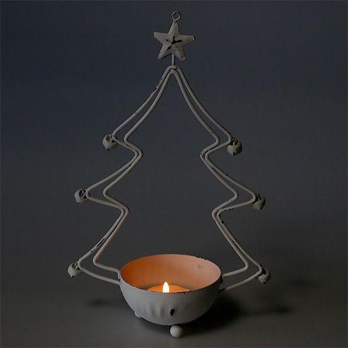 Albero decorativo con ciotola per tealight bianco 25 cm 2 pezzi