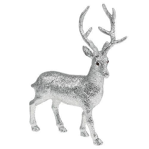 Cervo decorativo argento, mica H32cm B25cm