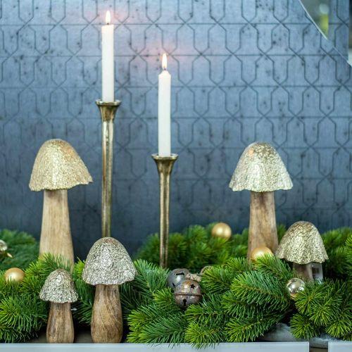 Fungo decorativo in metallo dorato, display decorativo naturale 13,5 cm