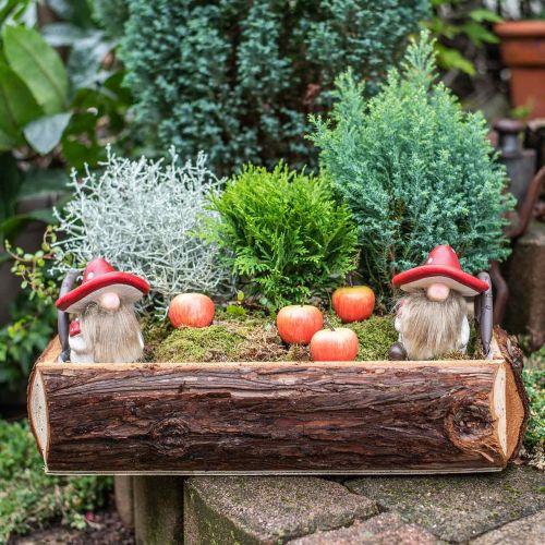 Deco elfo in ceramica cappello a fungo decorazione da tavola rosso, bianco H10.5cm 3 pezzi