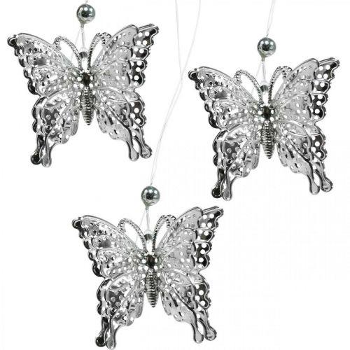 Farfalla decorativa pendente, decorazione matrimonio, farfalla in metallo, molla 6 pezzi