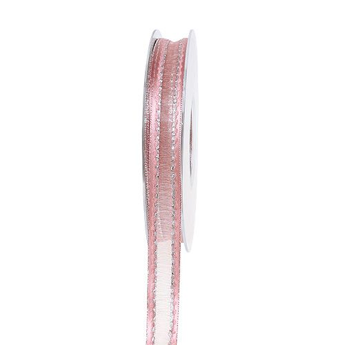 Nastro decorativo rosa con strisce di lurex in argento 15mm 20m