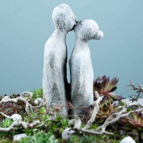 Figura decorativa coppia che si bacia in pietra grigia 10 × 8 cm H28 cm