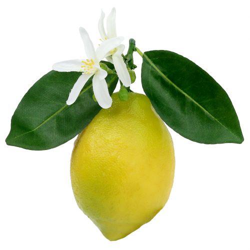 Frutti decorativi, limoni con fogliame Giallo 9,5cm 4 pezzi
