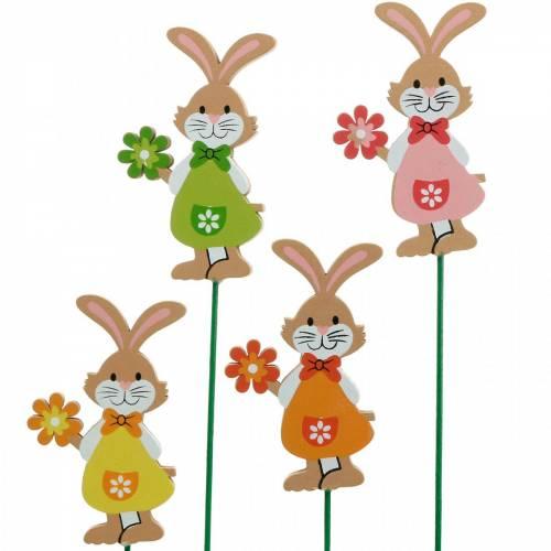 Spina decorativa coniglietto pasquale con fiore Decorazione pasquale coniglietti in legno su bastone 24pz