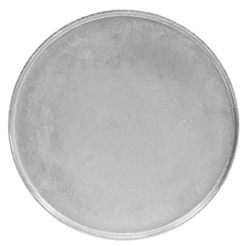 Piatto decorativo argilla Ø31cm argento