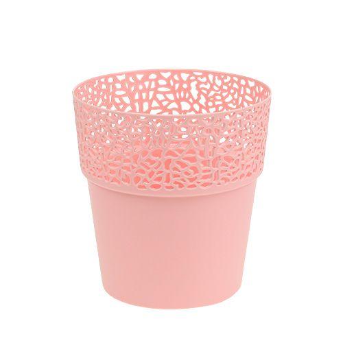 Vaso decorativo in plastica rosa Ø13cm H13,5cm 1pz
