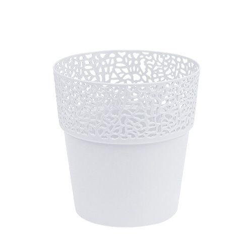 Vaso decorativo in plastica bianco Ø13cm H13,5cm 1pz