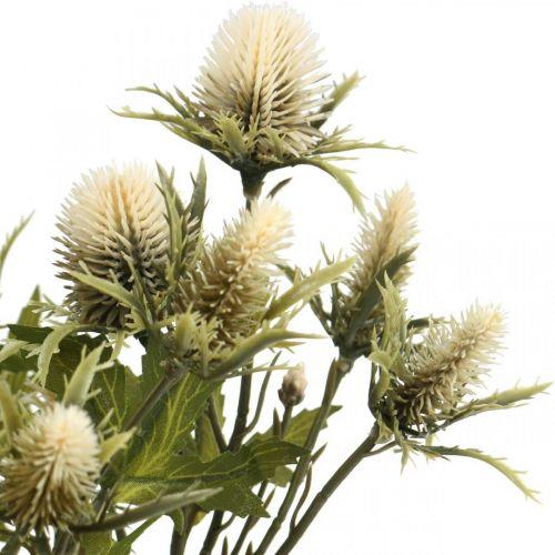 Crema di rami di cardo artificiale 10 teste di fiori 68 cm 3 pezzi