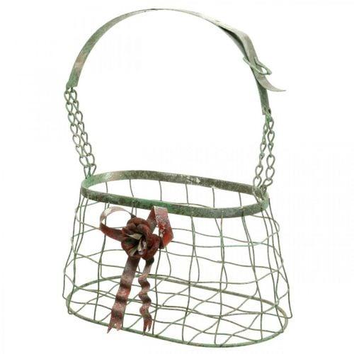Borsa con manico, cestino in metallo, fioriera in filo, cestino per fioriera L28,5 cm H33 cm