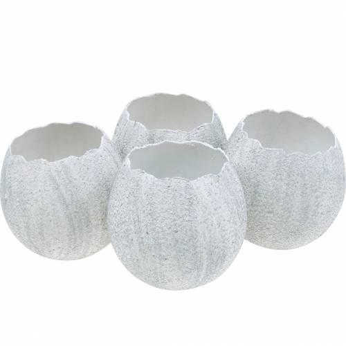 Guscio d'uovo per piantare, decorazione pasquale, fioriera, bianco d'uovo decorativo argento 4 pezzi