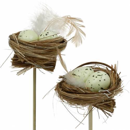 Tappo decorativo nido d'uccello, decorazione pasquale, nido con uova 23 cm 6 pezzi