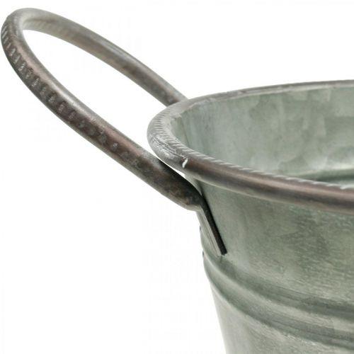 Vaso per fioriera, contenitore in metallo con manici, ciotola decorativa L32cm H24cm