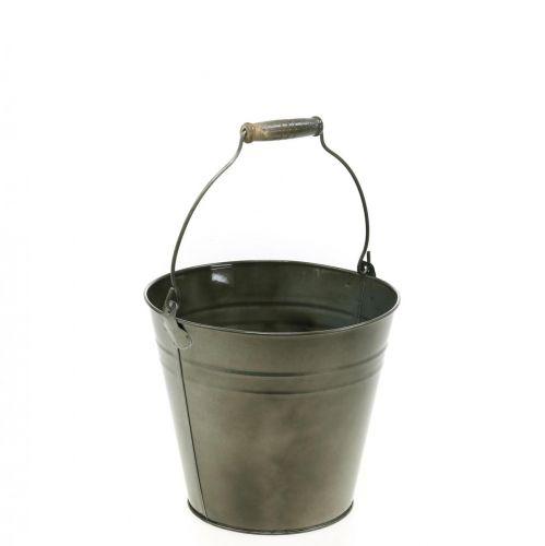 Secchio decorativo con manico, decorazione da giardino, vaso per piante, vaso in metallo Ø16.5cm H15cm