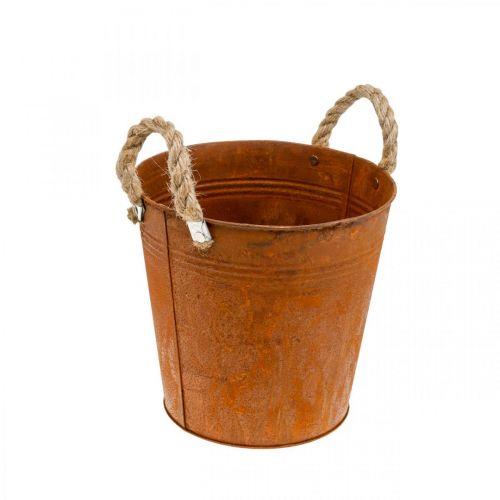 Vaso decorativo con manici, decorazione autunnale, vaso in metallo con patina Ø22cm H21cm