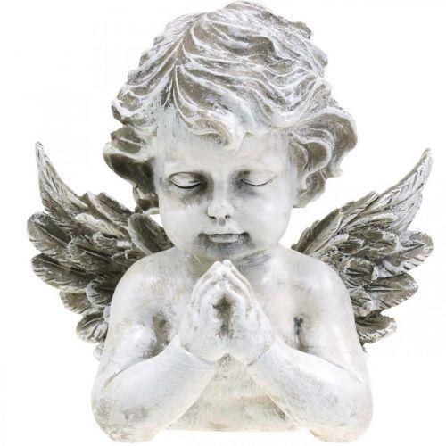 Angelo in preghiera, floristica funeraria, busto di figura di angelo, decorazione tombale H19cm L19,5cm