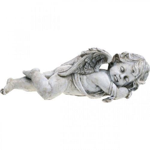 Decorazione tomba angelo dormiente Tomba angelo grigio polyresin 39×14x13cm