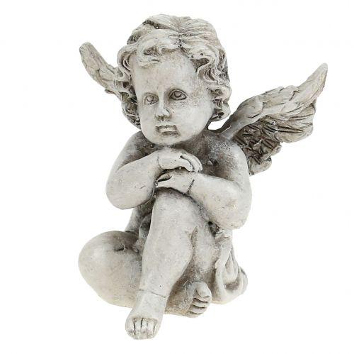Figure di angelo grigio 9 cm 3 pezzi