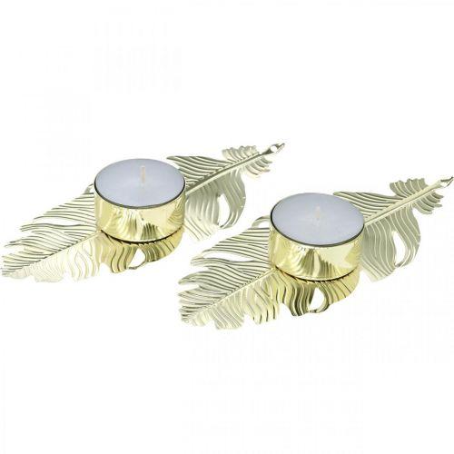 Candeliere a molla, decoro in metallo, portacandele, decoro Avvento dorato Ø2.2cm L13cm 4 pezzi