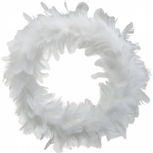 Decorazione di Pasqua ghirlanda primaverile grande bianca Ø40cm Piume vere