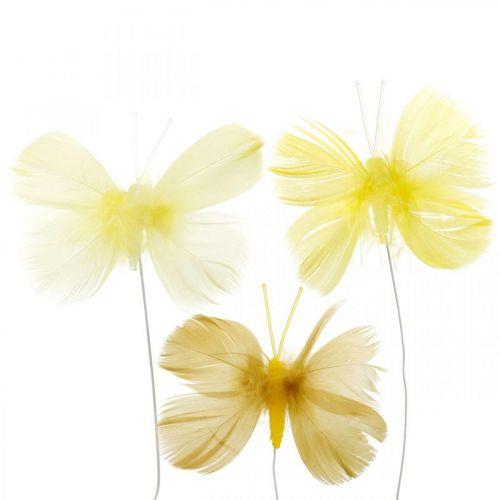 Farfalle decorative su filo, decorazioni primaverili, farfalle con piume nei toni del giallo 6pz